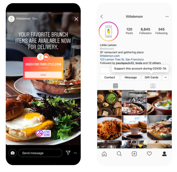 Instagram is helping restaurants deliver food and sell gift cards